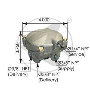 R6 relay valve Air brake replaces Bendix 279180