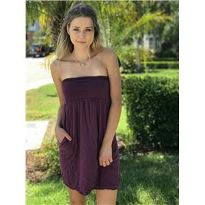Petite Velvet by Graham & Spencer Burgundy Strapless 100% Cotton Dress USA MADE