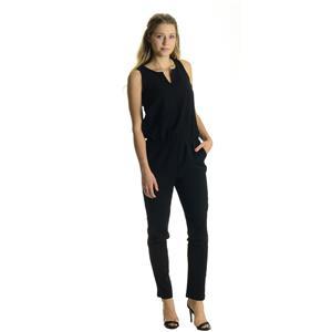 NWT Sz S Tinley Road Black Split Neck Elastic Gathered Waist Zip Back Jumpsuit