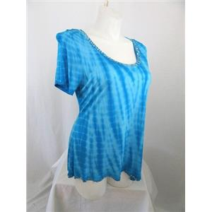 INC International Concepts Woman Size 1X Turquoise Tie Dye Top
