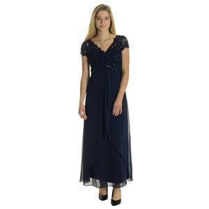 10 NWT Karen Miller Navy Blue Beaded Lace Cap Sleeve Empire Waist Formal Gown