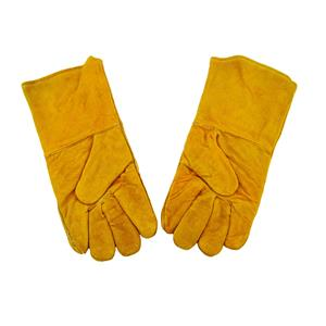 "1 Pair 13"" Yellow Leather Welding Gloves-Safety-Furnace-Gold Melting-Smelting"