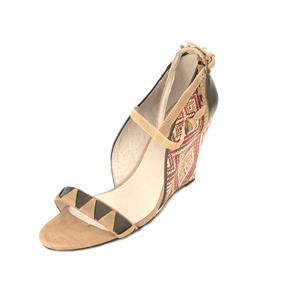 NIB 9.5 Farylrobin Valencia Red/Rouge Rafia Tribal Weave Wedge Open Toe Sandal