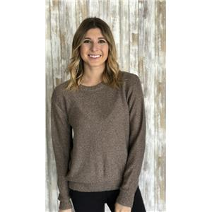Sz M Michael Stars Purl Stitch Crew Neck Metallic Blend Sweater in Rose Gold