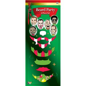 Christmas Santa Mustache Beards Tattoo Set 6pcs Holiday Party Fun Pack
