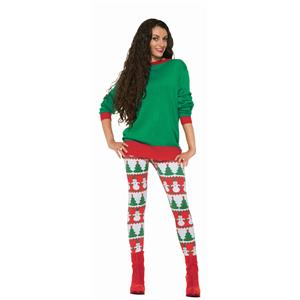 Red and Green Snowman and Christmas Tree Adult Leggings