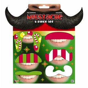 Festive Christmas Mustaches Tattoo Set 6pcs Holiday Party Fun Pack