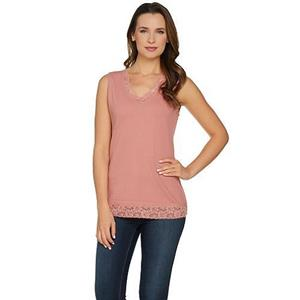 Denim & Co Essentials Size 1X New Antique Rose Lace Trim V-Neck Ribbed Tank