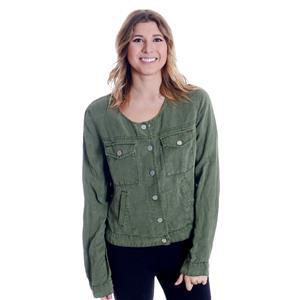 NWT Sz M Sanctuary Anthropologie Army Green Silver Snap Button Crew Neck Jacket