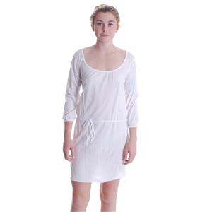 One Size NWT Michael Stars Lightweight Jersey 3/4 Sleeve Scoop Neck Dress White
