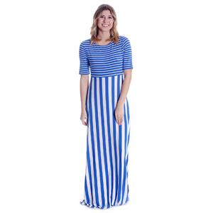 NWT S Matilda Jane Blue Stripe The Road Ahead Scoop Neck Short Sleeve Maxi Dress