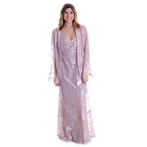 S NWT Damianou Pink Silver Floral Pointelle Knit Sleeveless Dress Cardigan Set