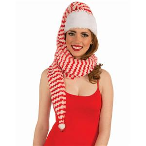 Forum Novelties Red and White Striped Santa Cozy Wrap Scarf Hat