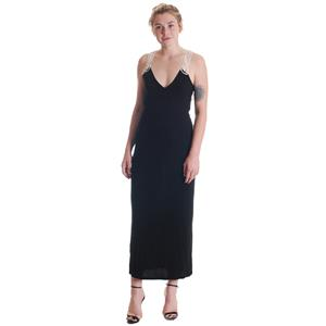 NWT S Free People Black Wrap V-Neckline W/ Crochet Back Detail Jersey Maxi Dress
