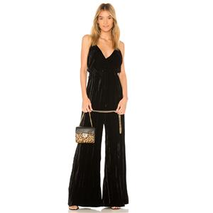 NWT 2 (S) Nightcap Clothing Black Crushed Velvet Surplice Neck Tie Back Jumpsuit