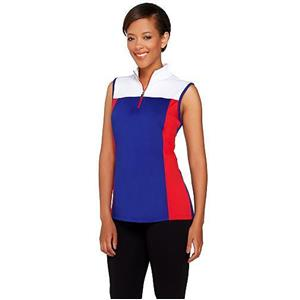 Denim & Co. Size 3X Blue/Red Active/Golf Color-Block Sleeveless Top