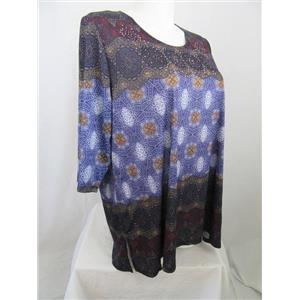 Catherines Size 1X Multi Print 1/2 Sleeve Round Neck Top w/ Embellishments