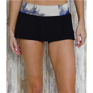 4 Lululemon Breath of Fire Mesh Ruffle Hem Mini Skirt Black/Milky Way Multi