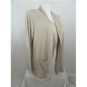 Susan Graver Size 1X Wheat Textured Knit Long Sleeve Cardigan