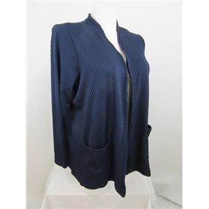 Susan Graver Size 1X Navy Textured Knit Long Sleeve Cardigan