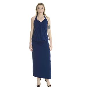 S NWT LinQ Blueberry Blue Halter Maxi Dress Jersey Knit Ruched Banded Waist