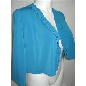 Susan Graver Essentials Size 1X Deep Teal Liquid Knit 3/4 Sleeve Shrug