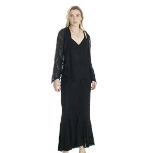 S NWT Damianou Black Sparkle Lace Sleeveless Full Length Gown/Dress Cardigan Set