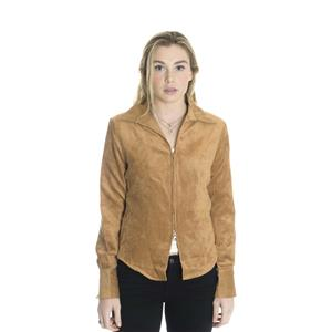 L NWT Paparazzi by Biz Cognac Brown Faux Suede Zip Front Collared Jacket Shirt