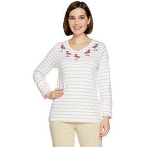Quacker Factory Size 3X Khaki Flamingo 3/4-length sleeves V-neck Top