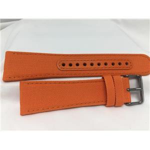 Seiko Original WatchBand SNKN39. LODN Z 24. 24mm Orange Fabric/Leather W/Pins.