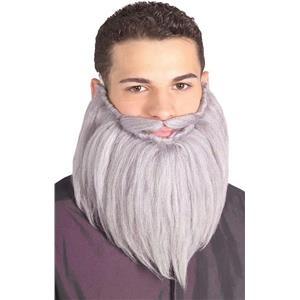 Grey 8'' Beard & Moustache Facial Hair Costume Set
