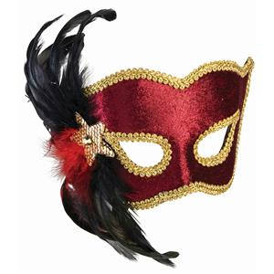 Karneval Style Female Red Burgundy Half Venetian Mask