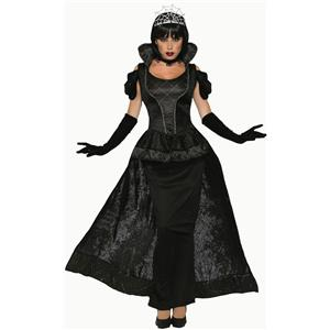 Royal Dark Queen Black Wicked Vampiress Dress Adult Costume
