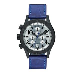 Nixon Women's 38-20 Chrono Leather Watch, 38 MM A504-2131-00 Black/Blue