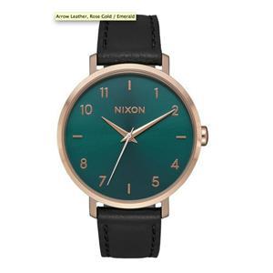 Nixon Women's Arrow Leather Watch Black/Rose Gold/Emerald 38mm