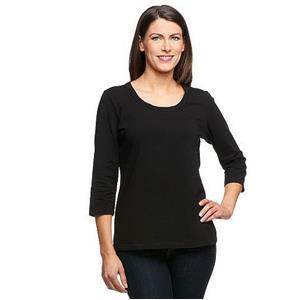 Denim & Co. Essentials Size 1X Black Perfect Jersey 3/4 Sleeve Round Neck Top