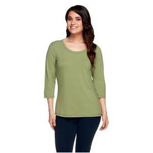 Denim & Co. Essentials Size 2X Moss Perfect Jersey 3/4 Sleeve Round Neck Top