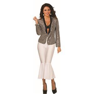 Silver Sequin Blazer Adult Women's Disco Jacket