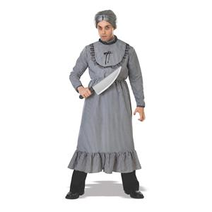 Psycho Mother Bates Motel Creepy Killer Grandma Dress and Wig Adult Size XL