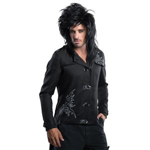 Adult Black Messy Rock Star Russell Brand Costume Wig