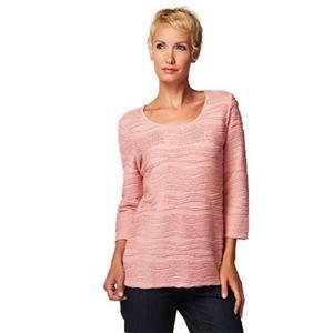Liz Claiborne New York Size 2X Petal Pink Scoop Neck Jacquard Textured Top