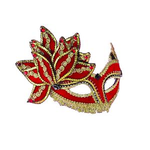 Red & Gold Venetian Half Mask