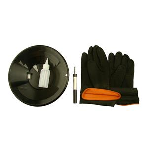 "10"" Black Gold Pan Kit + Rubber Gloves,  Magnet, Snuffer Bottle & 1"" Vial"