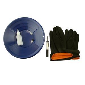 """12"""" Blue Gold Pan Kit + Rubber Gloves,  Magnet, Snuffer Bottle & 1"""" Vial"""