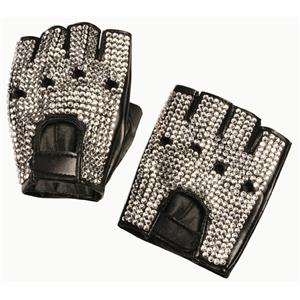 Diamond Covered Pop Star Adult Biker Gloves