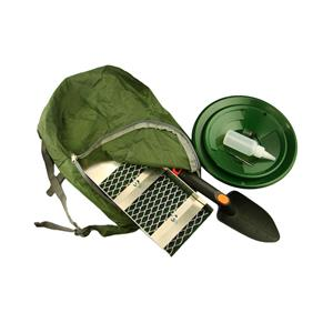 "BackPack+16"" Aluminum Sluice Box + 2 Green Gold Pans, Scoop, Vial & Snuffer +"