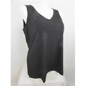 Susan Graver Size 1X Black Liquid Knit V-Neck Tank