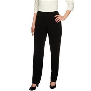 Susan Graver Essentials Size 3X Black Liquid Knit Straight Leg Pants - Regular