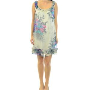 NWT S Yoana Baraschi Ivory Multi-Color Sleeveless Ogranza Dress W/ Button Detail