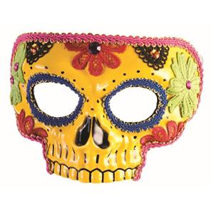Day Of The Dead Yellow Half Skull with Flowers Adult Venetian Mask